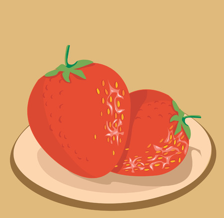 flesh: Two Strawberries on plate