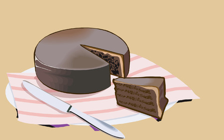home baking: Cake and knife on plate Illustration