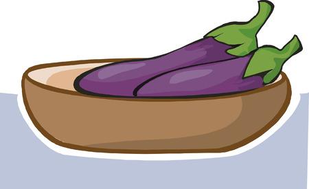aubergine: Zwei frische Interesse im Warenkorb Illustration