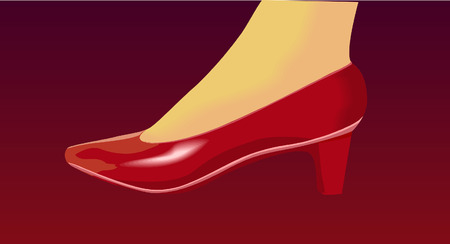 limp: foot  in high heels shoe  Illustration