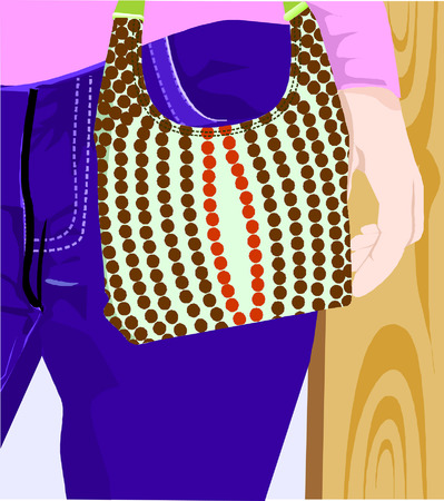 lady with dotted hand bag, Vector