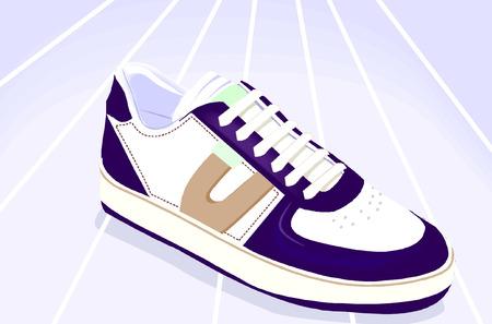 Blue shoe  under light. Stock Vector - 1702540