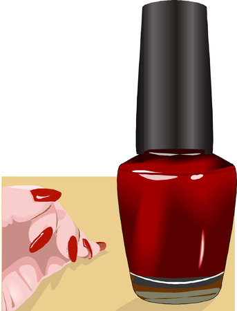 little finger: Nail polish and hand with polished Niles, Illustration