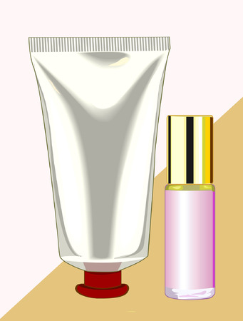 bodycare: Cream and  nail polish on yellow back ground, Illustration