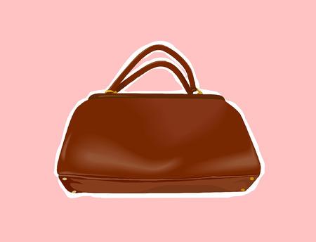 ladies bag: brown Ladies  bag on a rose background.