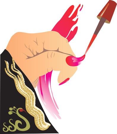 finger ring: lady polishing her nail.