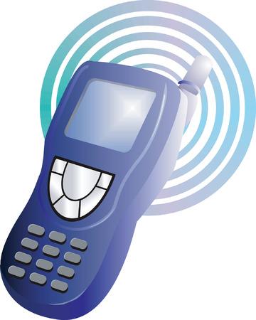 circled: tel�fono m�vil en un c�rculo de vuelta en tierra  Vectores