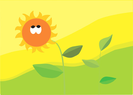 enchanting: Sunflower with leaves in an enchanting environment Illustration