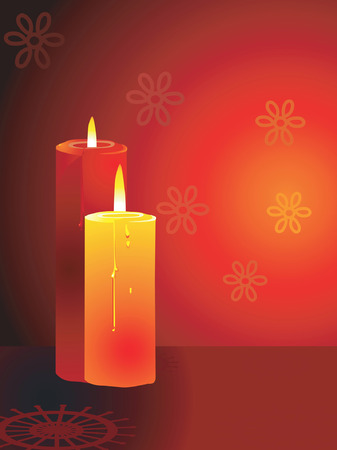lighted: Two candles lighted Illustration