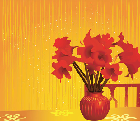 A bunch Red flowers in a red flower vase Stock Vector - 1702853