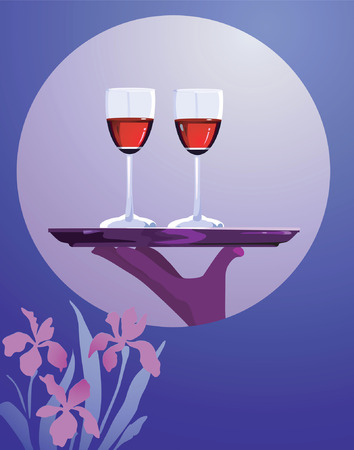 draught: Two glasses of wine on a plate placed on a wood with a background of moon and floral surrounding Illustration