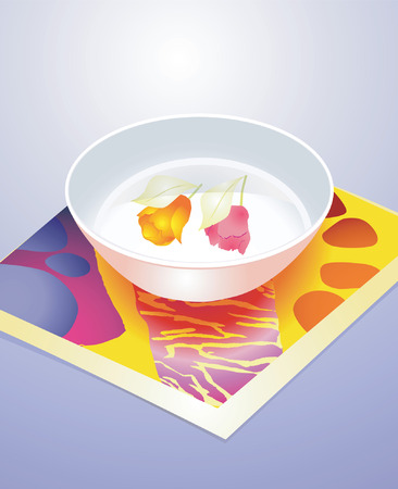 commercial kitchen: White Bowl with flower design  Illustration