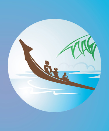 bateau dans une rivi�re avec des feuilles de noix de coco �t� expos�s dans le paysage