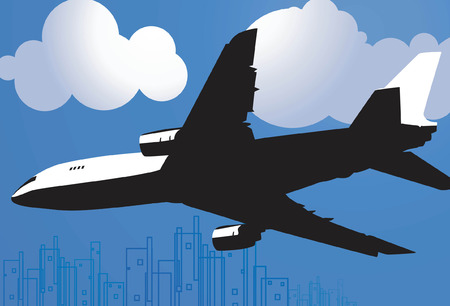 aviations: Airbus on the cloudy sky  Illustration