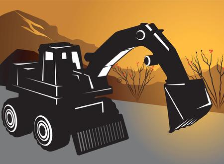 Silhouette of Bulldozer  Vector