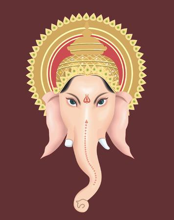 ganesh: Ganesh con su corona  Vectores