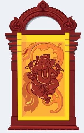 ganesh: Beelden van Ganesh gebogen van hout Stock Illustratie