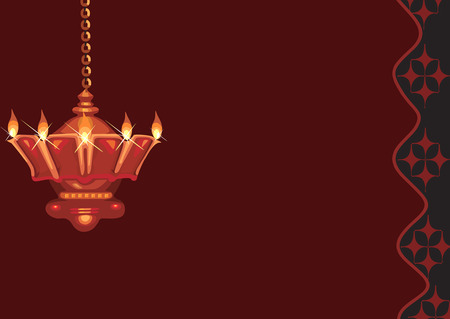 Aceite de la lámpara colgante se encuentra en templo hindú
