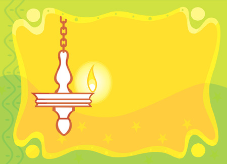 hindu temple: Image of Hanging oil lamp found in Hindu temple on Invitation-card, Illustration