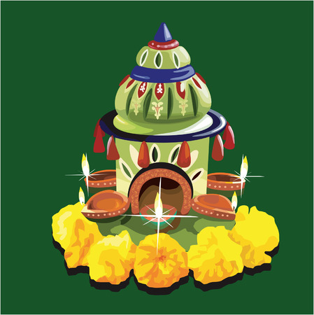 pooja: decoration with Flower and oil lamp  Illustration