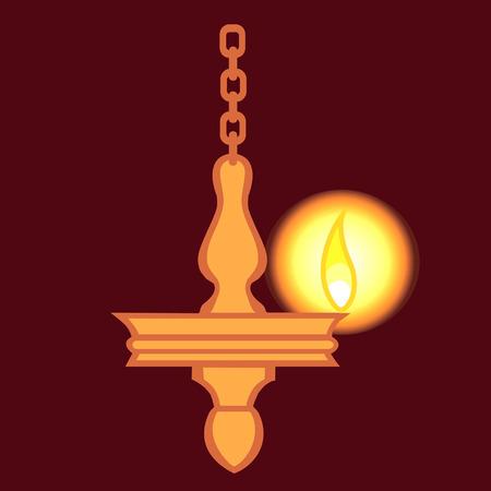 oil lamp: Hanging oil lamp Illustration