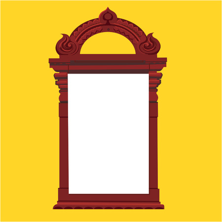 sculpted: A wooden Frame on yellow back ground