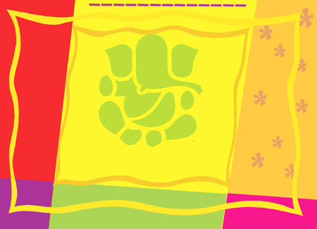 �back ground�: Ganesha on colourful back ground Illustration