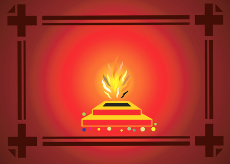 customary: Homa performed in Hindu's temples Illustration