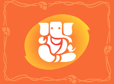 �back ground�: Leafy Ganesha on floral back ground