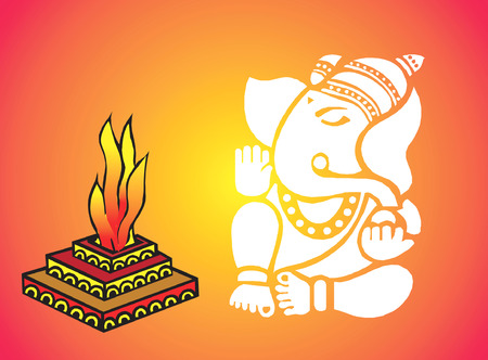Ganesha and flames Stock Vector - 1727954