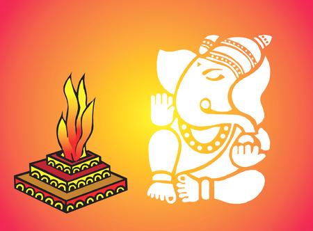 Ganesha and flames