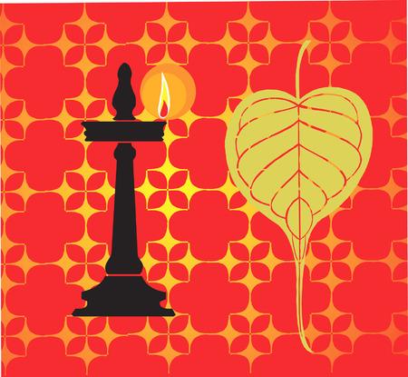 banyan: Banyan leaf  and oil lamp