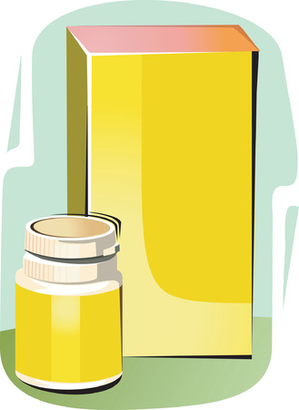 A bottle of medicine with its package cover Vector