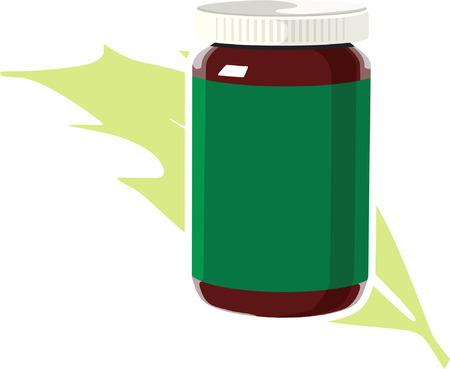 cough syrup: Herbal medicine bottle with a green cover
