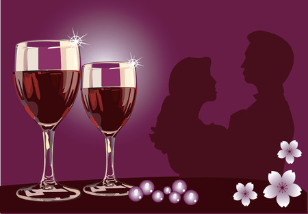 Dating with wine on table with flowers in the background Illustration