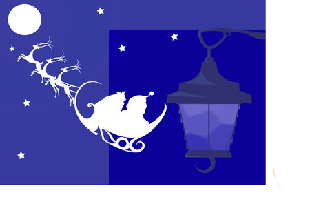 celebratory event: Santa clause with Christmas gifts from moon to streetlamp Illustration