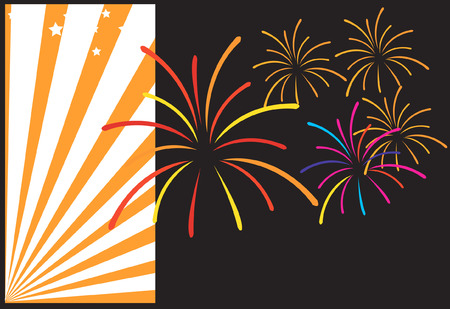 Celebration with fire works Vector
