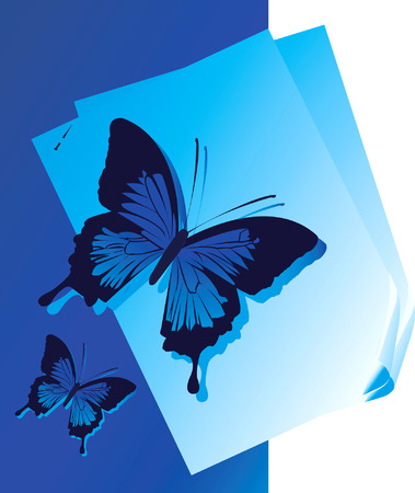 Two butterflies on the background with white papers Stock Vector - 1735412