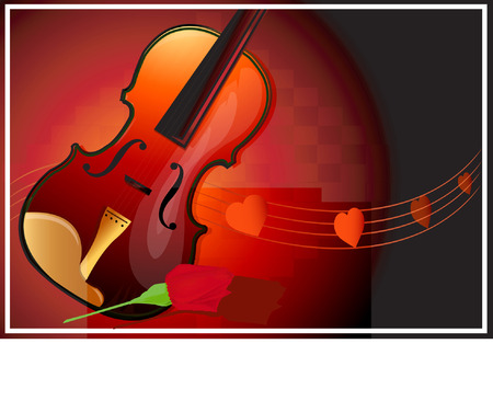 it background: Guitar in Red spot light in dark background and music of heart flowing in a rhythm with a red rose next to it