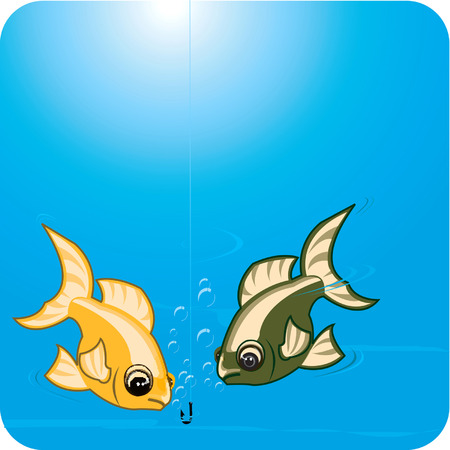 Two fishes eating in the sea water. Vector