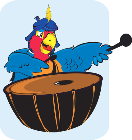 macaw: Parrot  playing drum.