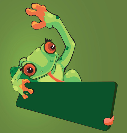 sneering: frog lifting  the cardboard with his tongue.