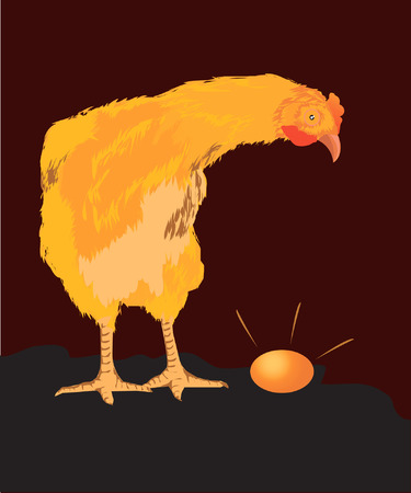 The hen wondered by seeing her egg. Vector