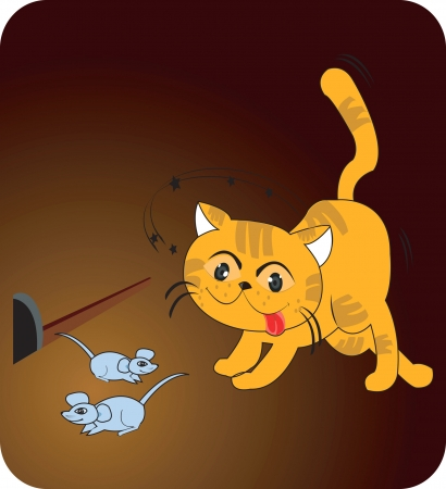 Cat trying to catch the mice. Stock Vector - 1735326