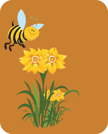Honeybee swiping the honey from the flower. Vector