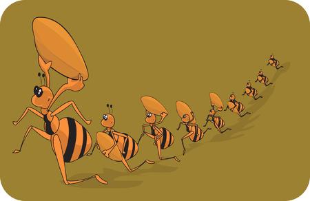 fila de espera: La familia de hormigas en Marzo pasado.  Vectores