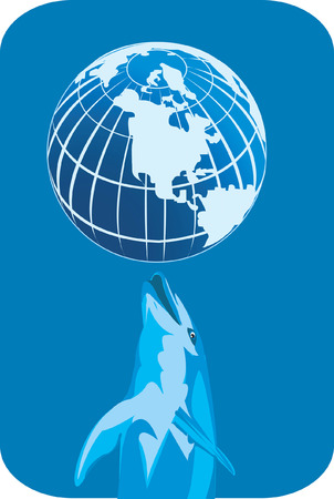 Dolphin playing with globe Stock Vector - 1735321
