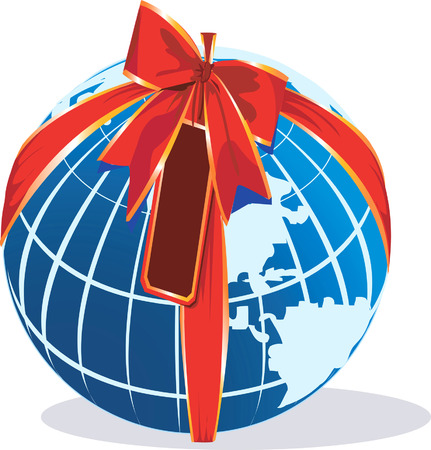 physical geography: world is decorated with the ribbon