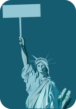 Statue of liberty holding sign board Stock Vector - 1735343