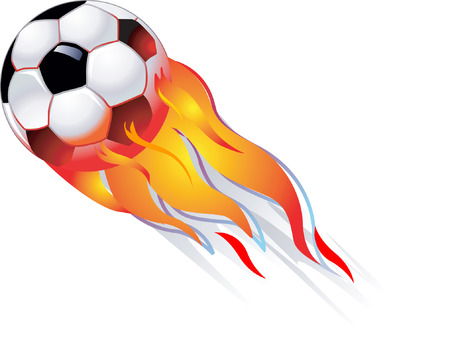 Football with flames on white back ground